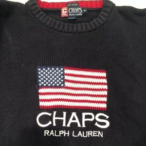 Vintage Chaps Ralph Lauren Flag Knit Sweater